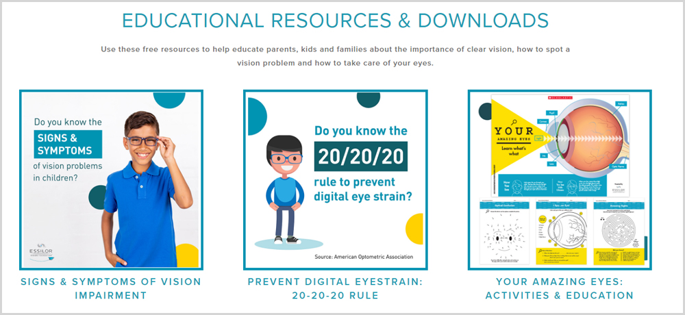 Educational Resources and Downloads for Parents and Eye Doctors